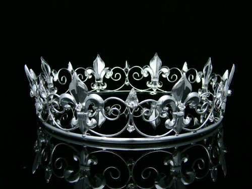 Men's Full King's Crown for Theather Prom Party - Clear Crystals Silver Plating T373]()