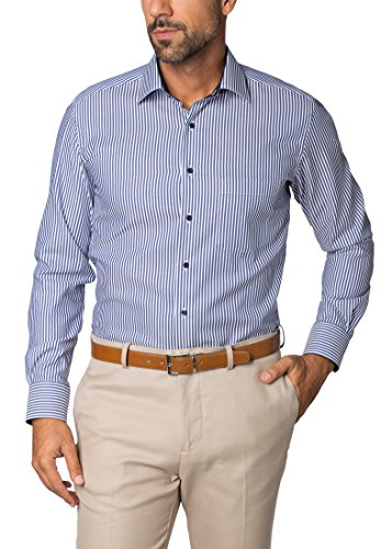 Eterna Long Sleeve Shirt Modern Fit Twill Striped