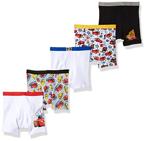 (Disney Toddler Boys' Cars 5 Pack Boxer Brief, Cars Movie Assorted Prints, 4T)