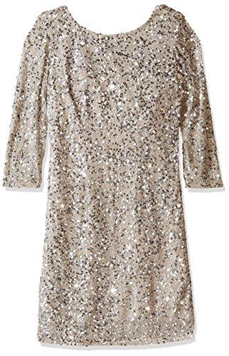 Pisarro Nights Women's Short Cowl Back Sequin 3/4 Sleeve Dress