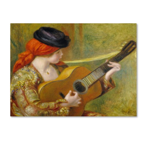 (Young Spanish Woman with a Guitar Artwork by Pierre Renoir, 18 by 24-Inch Canvas Wall Art)