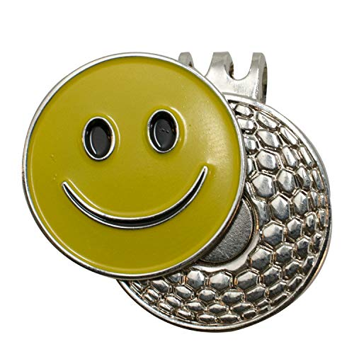 DA VINCI Magnetic Golf Hat Clip with 1 Inch Embossed Metal Golf Ball Marker (Smiley Face)