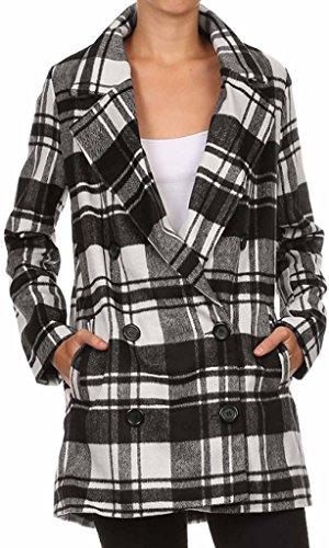 Ola Mari Junior Size Plaid V Neck Long Sleeve Front Buttons Pea Coat, Large, Black