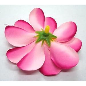 "(100) Two-Tone Pink Hawaiian Plumeria Frangipani Silk Flower Heads - 3"" - Artificial Flowers Head Fabric Floral Supplies Wholesale Lot for Wedding Flowers Accessories Make Bridal Hair Clips Headbands Dress 4"