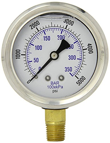 5000 Psi Pressure Gauge (Herco Liquid Filled Hydraulic Pressure Gauge 0 - 5000 PSI (NPT))
