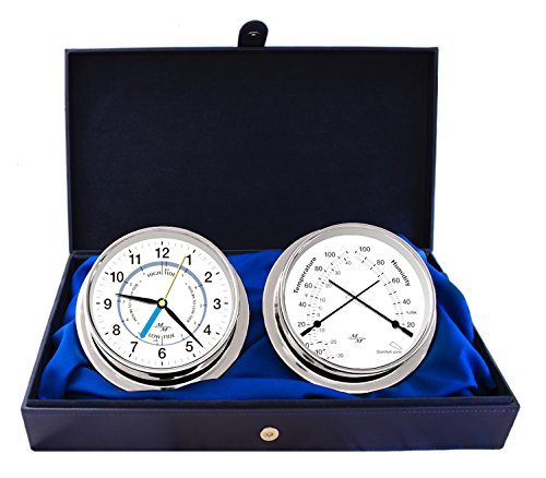 "Master-Mariner First Light Collection, Nautical Cabin Gift Set, 5.75"" Diameter Time & Tide Clock and Comfort Meter Instruments, Chrome Finish, Classic White dial"