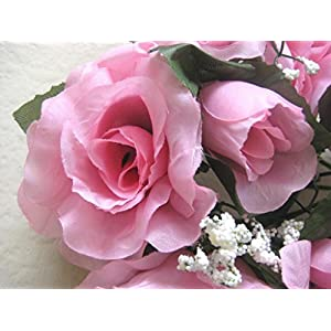 3 Candle Rings Rose Center Piece Artificial Silk Flowers 4005 Pink 51