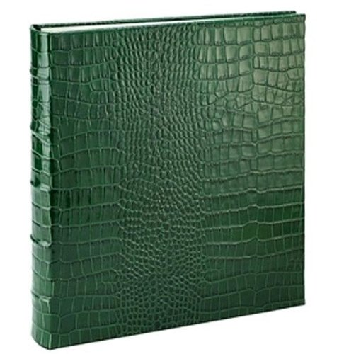 Standard 3-ring Bottle-Green Crocodile-pattern Fine Leather album with slip-in pockets by Graphic Image™ - 4x6 by Graphic Image