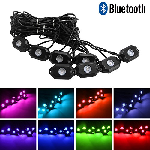 Northpole Light 8 Pods RGB LED Rock Light Kits with Bluetooth Control Waterproof Underbody Glow LED Neon Trail Rig Lights for Car Truck Jeep Offroad ATV UTV Raptor Boat