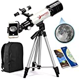 Moutec Telescope for Kids and Beginners with Backpack Smartphone Adapter, Portable Astronomical Travel Telescope, 70mm Refractor - Great Astronomy Gift for Kids to Explore Moon Space