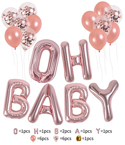 "16'' Rose Gold Of ""OH BABY"" Letters Foil Balloons Set Baby Girl/Boy Shower Balloons/Happy Birthday Occasion newborn Party Decorations Balloons(oh baby)"