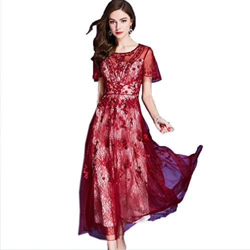 line Dress Scoop cotyledon Short Sleeve Women`s Long A Party Dresses Neck Red nffw8tx6qv