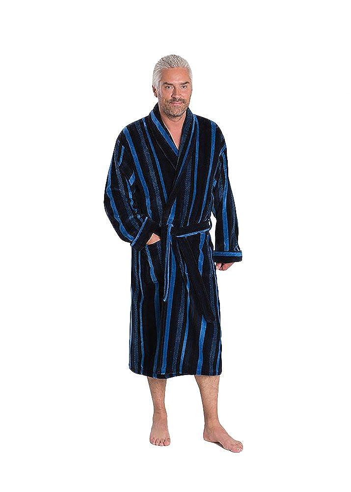 Bown of London Men's Luxury Velour Dressing Gown, Salcombe, Blue Stripes