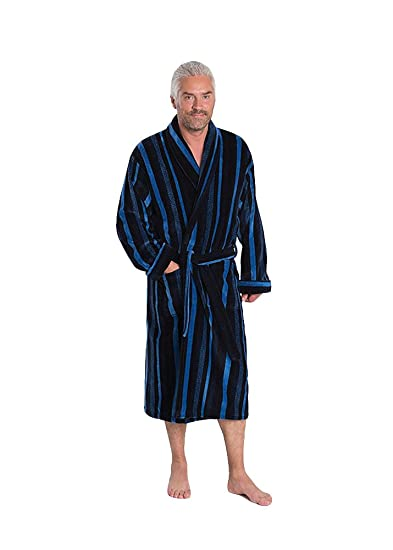 Bown Of London Mens Luxury Velour Dressing Gown Salcombe Blue