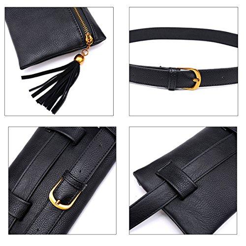 Bag Mini Retro Phone Bag Belt Pouch Travel Bumbag Black1 Fashion Stripes Leather Meliya Waist Fanny PU Cell Women Pack v7XcCq