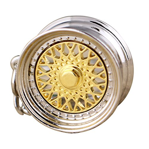 Auto Parts Wheels (Maycom Creative Hot Auto Part for BBS Model Wheel Rim Tyre Keychain Keyring Key Chain Ring Keyfob(Gold))