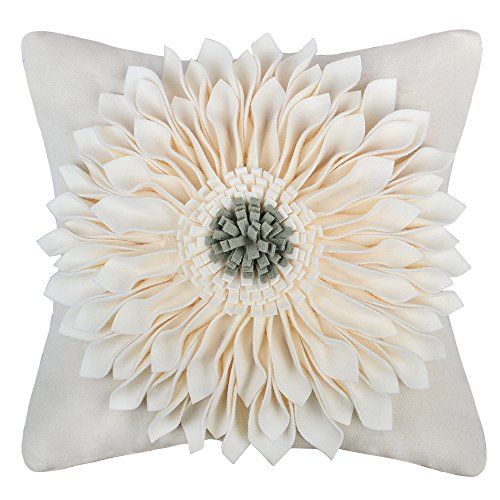 OiseauVoler 3D Sunflowers Handmade Throw Pillow Cases Faux Wool Decorative Cushion Covers Canvas Pillowcases Home Sofa Car Bed Room Decor 18 x 18 Inch Creamy White
