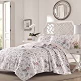2 Piece Beautiful Pink Grey Red Green White Twin Quilt Set, Floral Themed Bedding French Country Rose Stylish Shabby Chic Pretty Elegant Flower Antique Leaf Nature, Cotton