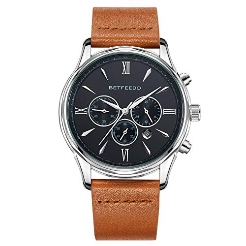 Betfeedo Men's Chronograph Quartz Analog Stainless Steel and Genuine Leather Watch with Date