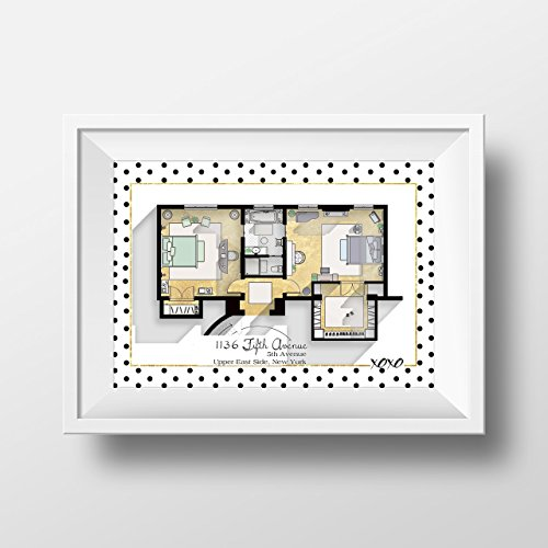 Gossip Girl Apartment Floor Plan - TV Show Floor Plan- Blair Waldorf and Serena Van der Woodsen's Bedroom Plan - Glam Poster - TV Show Poster