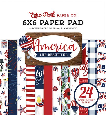 Echo Park Paper Company ATB192023 America The Beautiful 6x6 Pad Paper, red, White, Blue, Navy
