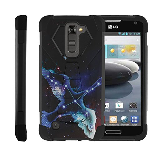 MINITURTLE Case Compatible w/ LG K7 Case | LG Tribute 5| Treasure Case, Dual Layer Shell SHOCK Impact Stand Case w/ Unique Graphic Images Cygnus Swan Constellation (Black Swan Treasure)