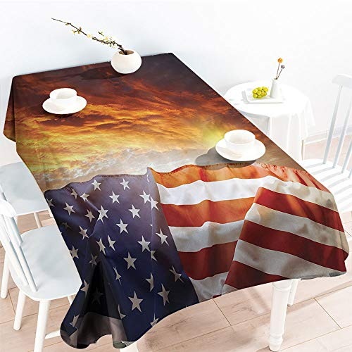 Jinguizi Rectangular Table Covers Flag in Front of Sunset Sky with Horizon Light America Union Idyllic Photoindoor Outdoor TableclothMulti(60 by 102 Inch Oblong Rectangular)