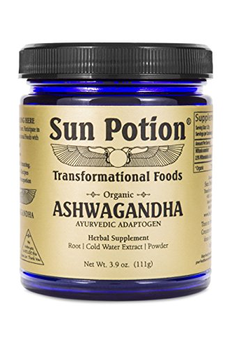 Ashwagandha Root Powder 111g by Sun Potion – Pure Organic Herbal Supplement Healthy Aid for Stress Depression Anxiety Energy Liver Thyroid Adrenal