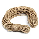 Haobase 82ft Hemp Rope 6mm, 100% Natural Jute 4-ply Thick Twine String, DIY Arts Crafts, Gardening Floristry
