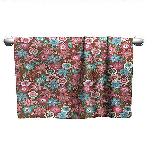xixiBO Towel Specials W28 x L14 Floral,Vibrant Bunch of Various Flower Petals Florets Shabby Chic Illustration,Pink Brown and Teal Shower Towel Facial Hand -