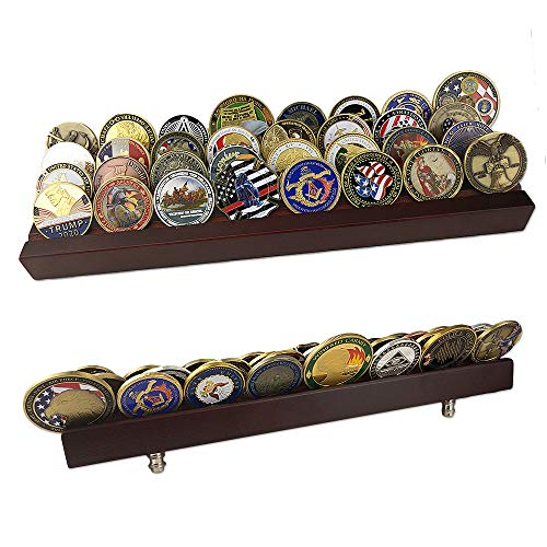 Coin Row Display (atsknsk Military Collectible Challenge Coin Display Holder Stand Holds 28-32 Coins (Large, 4 Rows))