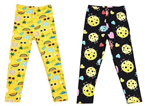 Feels Right Girl's Super Soft Leggings 2 Pack (Yellow Ladybug with Hearts & Fun Summer Party, Small (4-6))