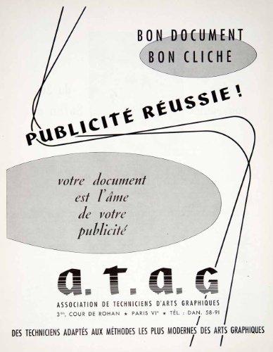 1957 Ad Association Techniciean D'Arts Graphiques 3 Cour Rohan Paris Advertising - Original Print - Paris Le Specs