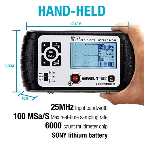 ALLOSUN Oscilloscope Handheld Scope Digital Storage Meter and Digital Multimeter DMM 25MHz Single Channel