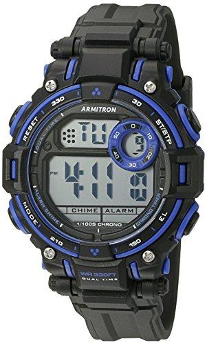 Armitron Sport Unisex 45/7066BLU Blue Accented Digital Chronograph Matte Black Resin Strap Watch ()