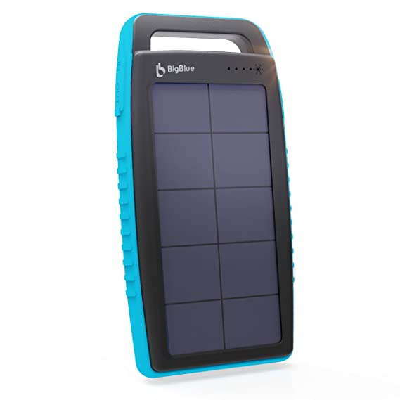 buy online f03cd bbbc4 BigBlue Solar Charger, 15000mAh Solar Battery Charger Dual USB Portable  Charger IPX4 Waterproof External Battery Pack Power Pack with Flashlight