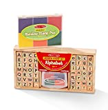 Melissa & Doug Rainbow 6 Color Stamp Pad and Deluxe Alphabet Stamp Set