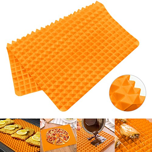 Silicone Non-stick Healthy Baking Mat - Heat Resistant Raised Pyramid Shaped Cooking Roasting Mats by Hippih , 1 Piece Orange 16 Inches X 11.5 Inches