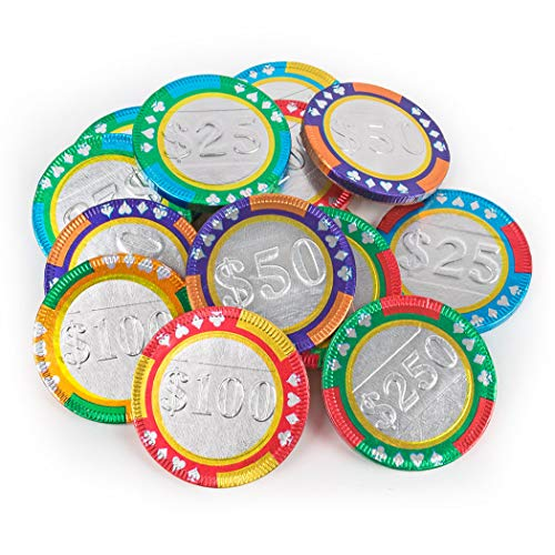 Chocolate Poker Chips (Milk Chocolate Castle Casino Chips Shaped Chocolate Coins 1lb)