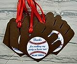 Baseball Mitt Party Favor Gift Tags - Set of 12