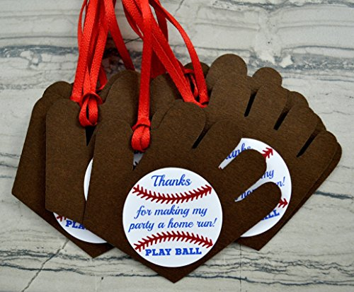 Baseball Mitt Party Favor Gift Tags - Set of 12