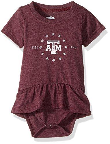 NCAA Texas A&M Aggies Children Girls Short sleeve Ruffle Onesie,6M,TAM Maroon (Aggie Girl)