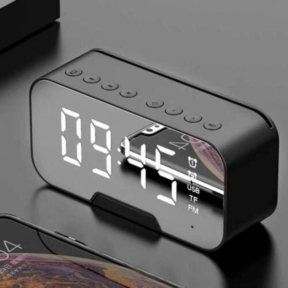 Reloj despertador digital LED Espejo despertador Pantalla LED con función de temperatura de tiempo de repetición para dormitorio, oficina - alimentado por batería y USB-Negro
