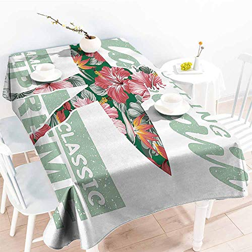 Homrkey Elegance Engineered Tablecloth Hawaiian Decorations Collection Tropical Hawaii Hibiscus Surfing Girl Silhouette Surfboard Retro Themed Artprint Coral Green Excellent Durability W50 xL80