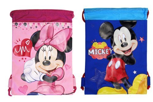 (2ct) Mickey & Minnie Mouse Drawstring Backpack - Large Drawsting -