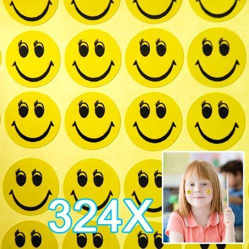 WMA 324 pcs Smiley Face Children Reward Merit Praise Stickers for School Teacher party ToyCentre