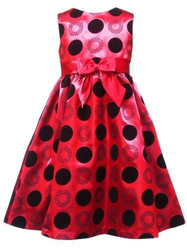 Rare Editions Little Girls' Flocked Dot Dress, Red, 2T (Flocked Dot Dress)