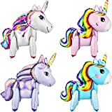 Gejoy 4 Pack 3D Unicorn Balloons Walking Animal Balloons Aluminum Foil Balloons for Birthday Party Baby Shower Decoration Supplies (White, Pink, Blue and Purple)