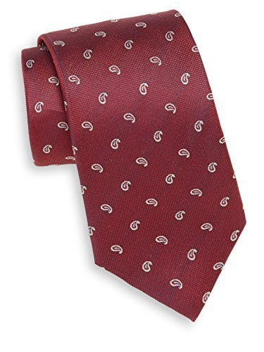 Yves Saint Laurent Men's Paisley Silk Tie, OS, Red