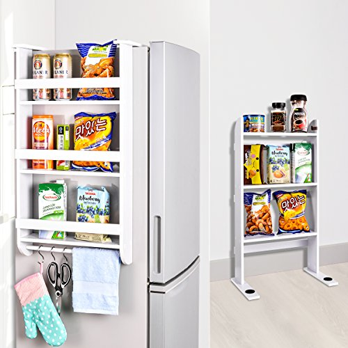 Side Cabinet By Side Refrigerator - Rack Fridge Wood Organizer Refrigerator Side Storage Rack Paper Towel Holder, Rustproof Spice Jars Rack Kitchen Storage Wrap Rack Organizer Refrigerator Shelf Storage Adjustable Cabinet Door Mount